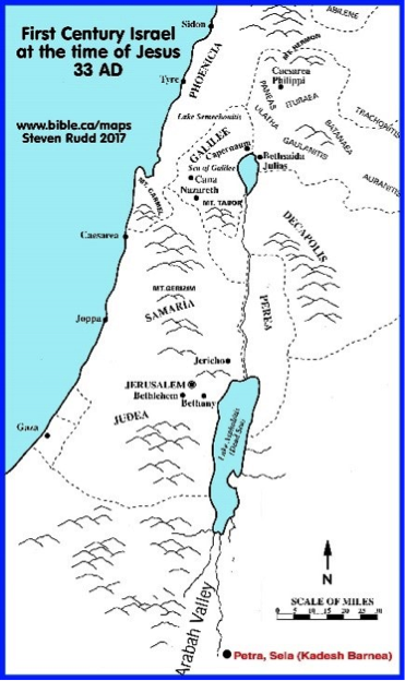 Map of Israel at the time of Jesus